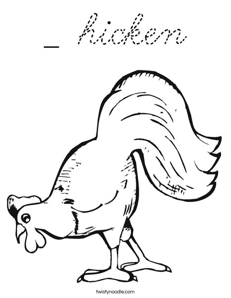 Chicken Pecking Coloring Page