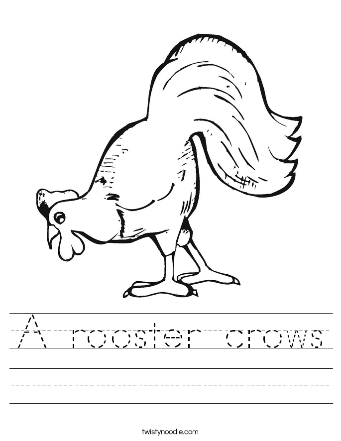 A rooster crows Worksheet
