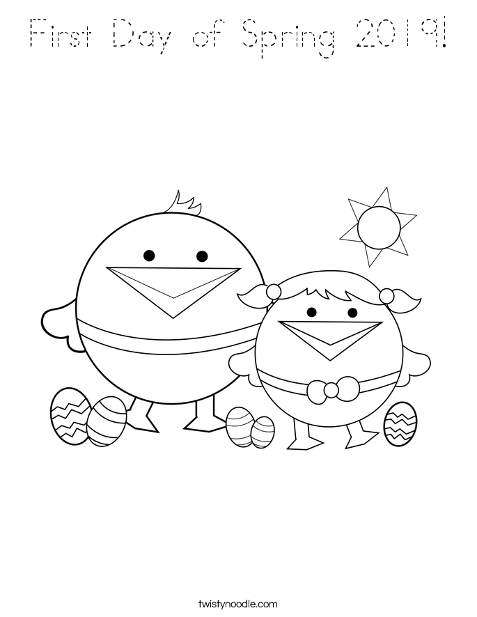First Day of Spring 2019! Coloring Page