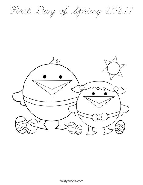 First Day of Spring Coloring Page