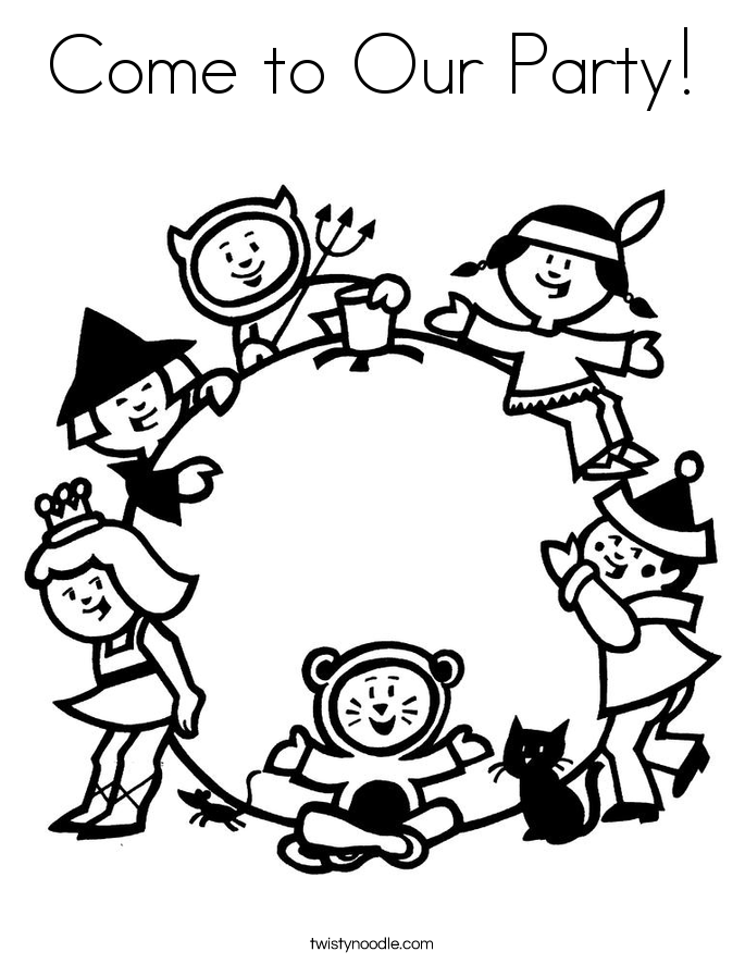 Come to Our Party! Coloring Page