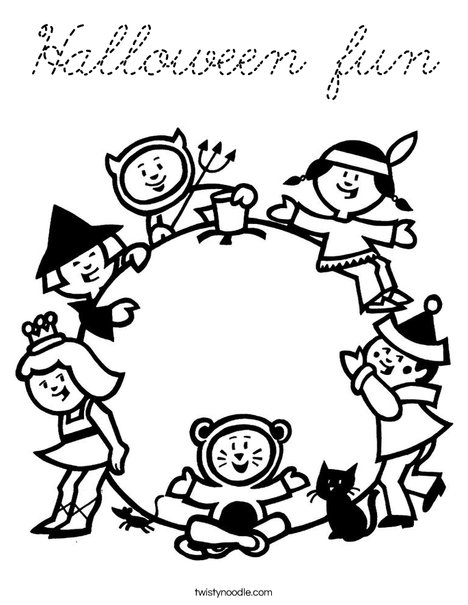 Children in Costume Coloring Page
