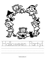 Halloween Party Handwriting Sheet