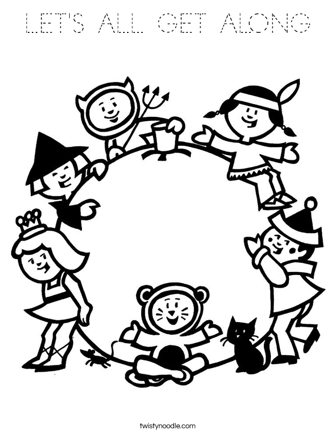 LET'S ALL GET ALONG Coloring Page