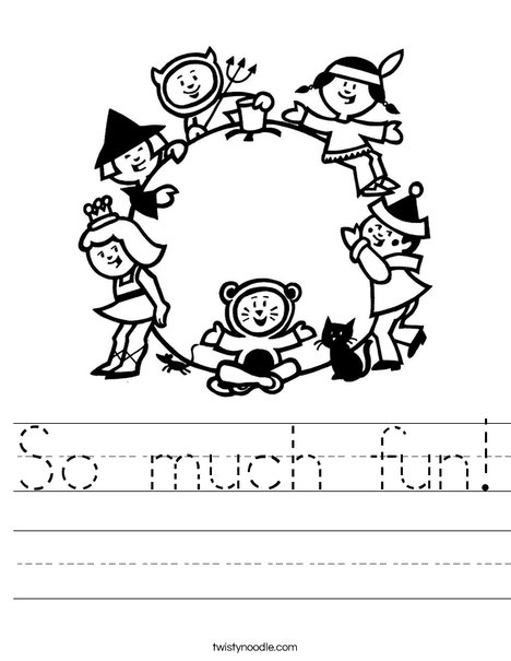 Children in Costume Worksheet