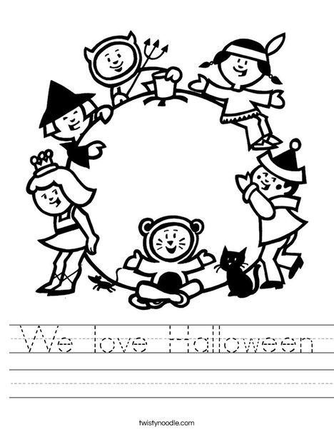 Children in Costume Worksheet