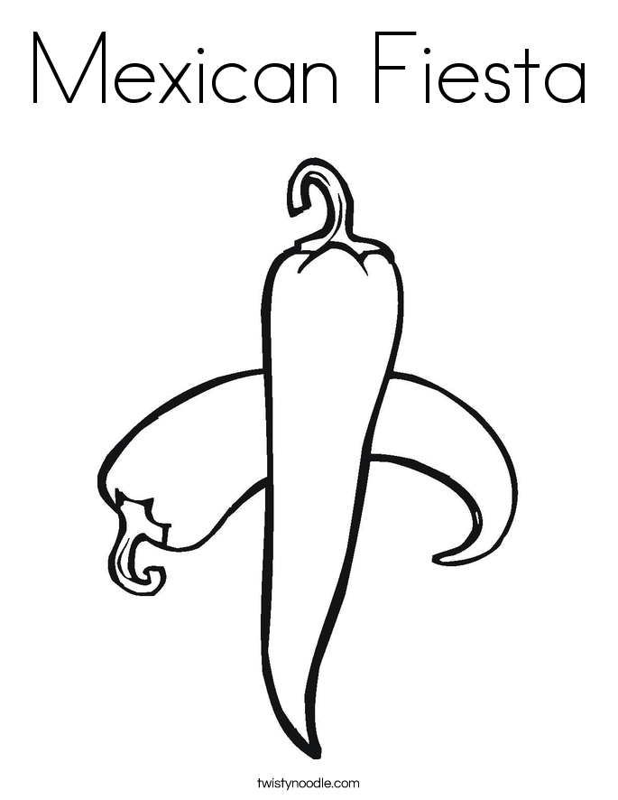 Mexican Fiesta Coloring Page.