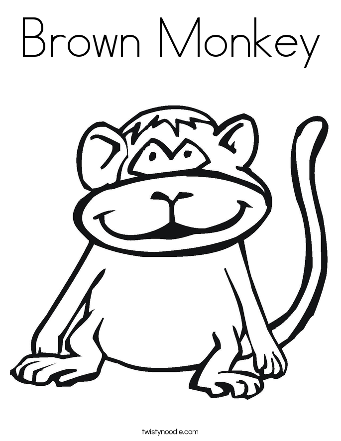Brown Monkey Coloring Page