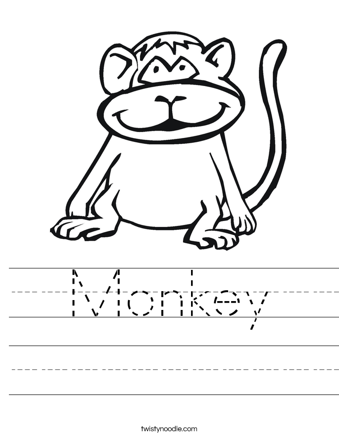 Monkey Worksheet Twisty Noodle