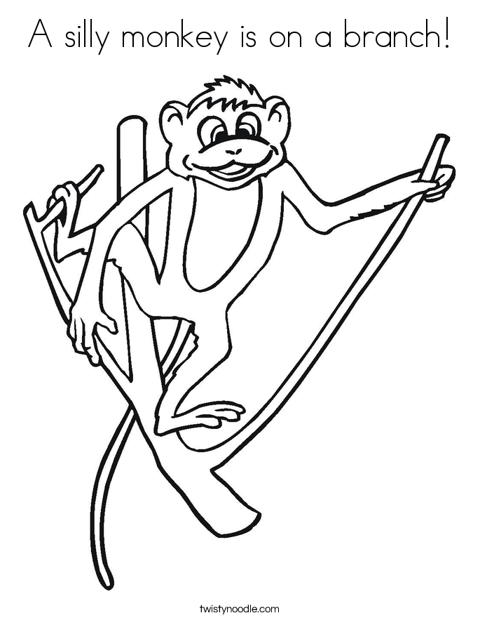 A silly monkey is on a branch! Coloring Page