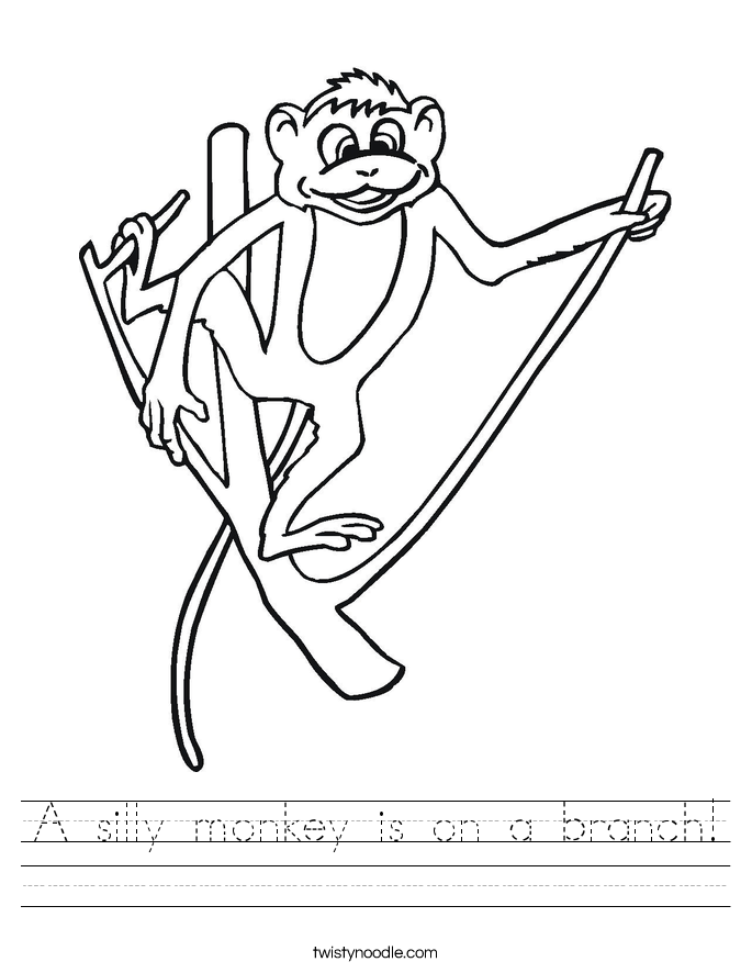 A silly monkey is on a branch! Worksheet