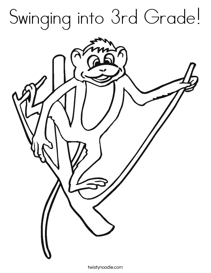 Swinging into 3rd Grade! Coloring Page