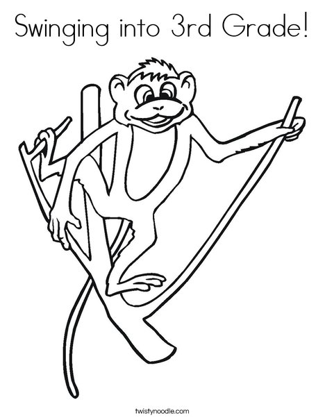 Swinging Into 3rd Grade Coloring Page - Twisty Noodle