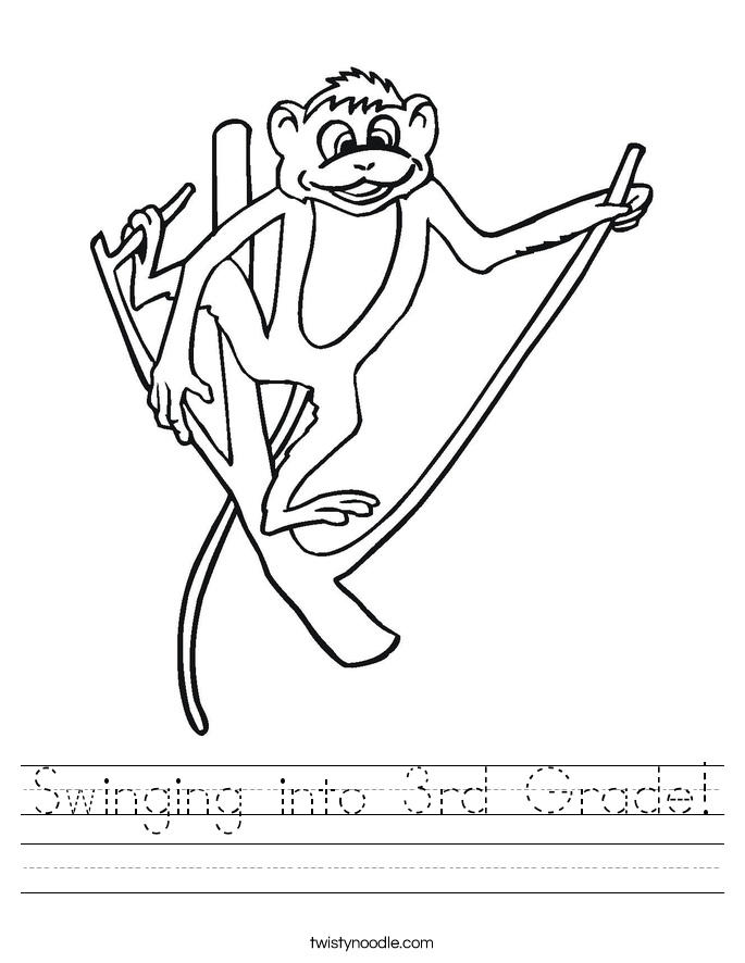 Swinging into 3rd Grade! Worksheet