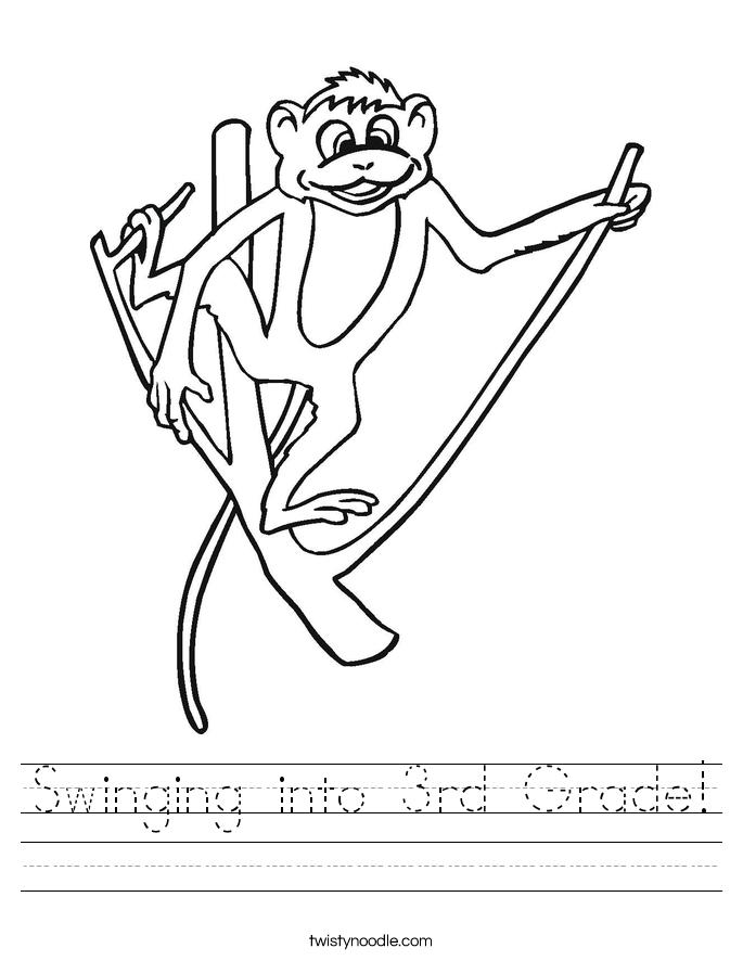 Swinging into 3rd Grade! Worksheet