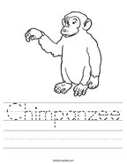 Chimpanzee Handwriting Sheet
