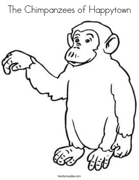 The Chimpanzees of Happytown Coloring Page - Twisty Noodle