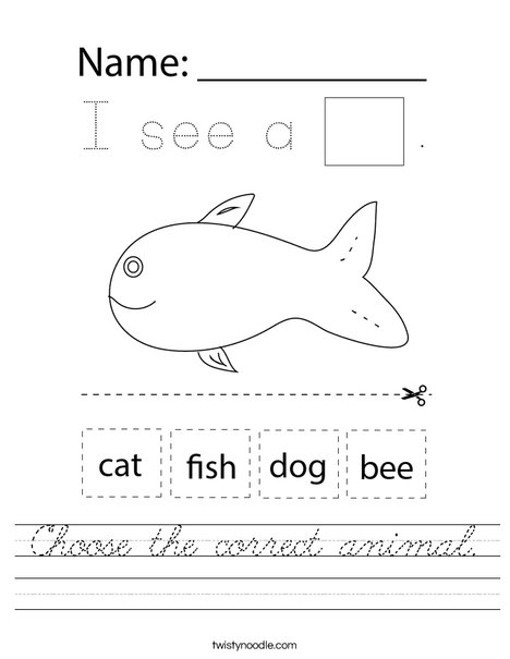 Choose the correct animal. Worksheet