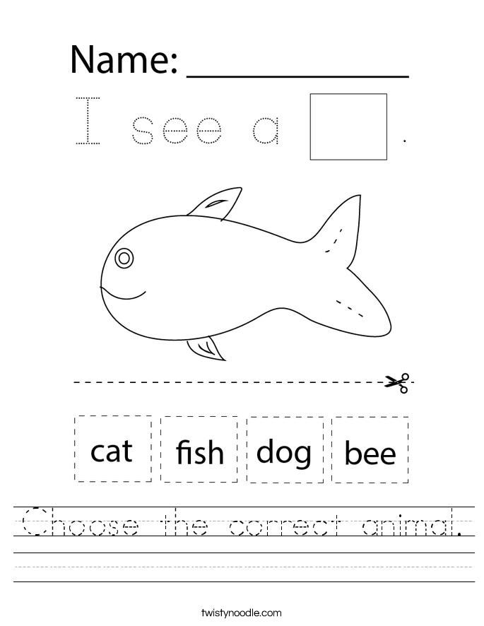 Choose the correct animal. Worksheet
