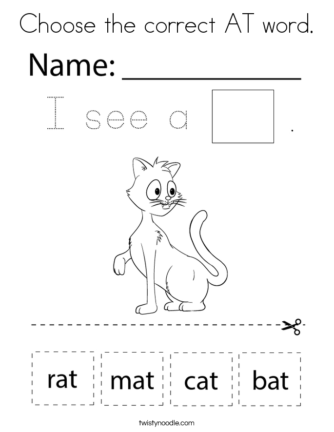 Choose the correct AT word. Coloring Page