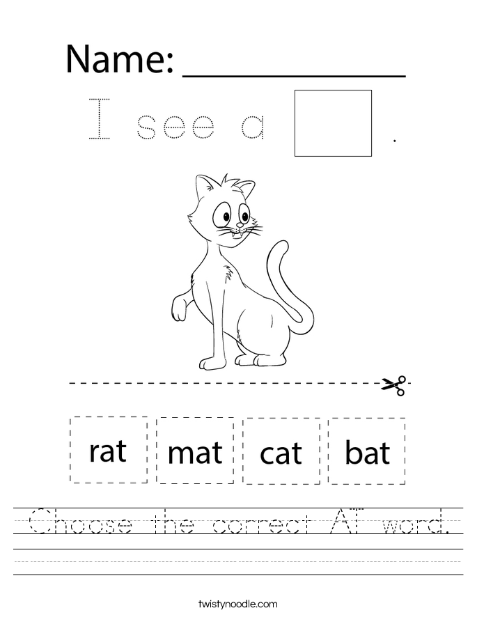 Choose the correct AT word. Worksheet