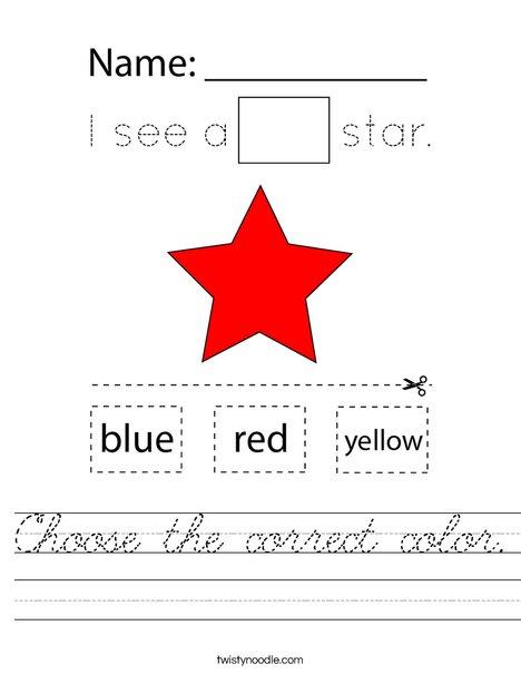 Choose the correct color. Worksheet