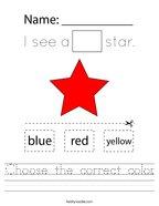 Choose the correct color Handwriting Sheet