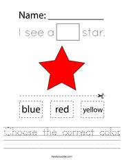 Choose the correct color Handwriting Sheet