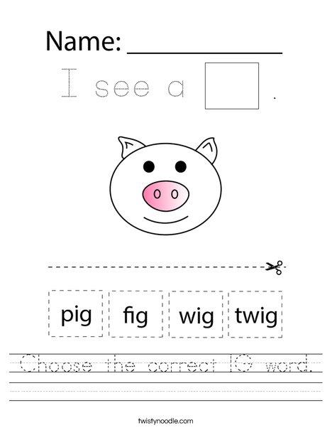 Choose the correct IG word. Worksheet