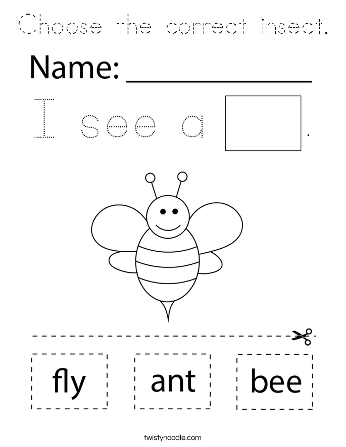 Choose the correct insect. Coloring Page