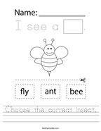 Choose the correct insect Handwriting Sheet