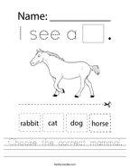 Choose the correct mammal Handwriting Sheet