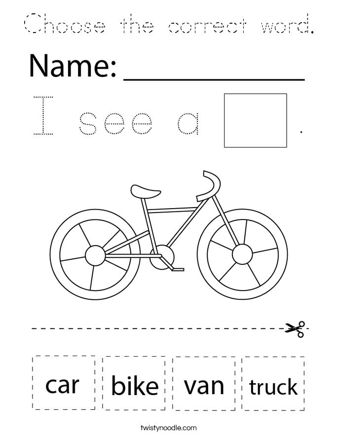 Choose the correct word. Coloring Page