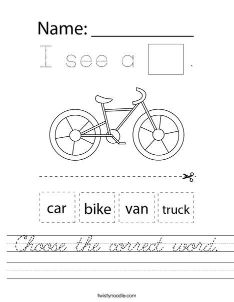 Choose the correct word. Worksheet