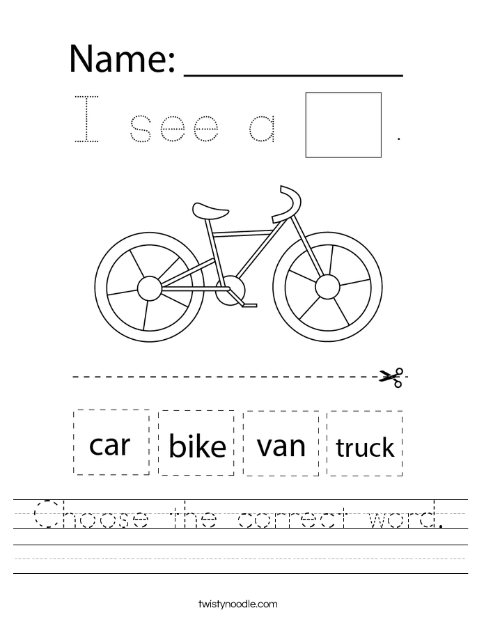Choose the correct word. Worksheet