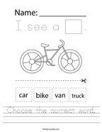 Choose the correct word Handwriting Sheet