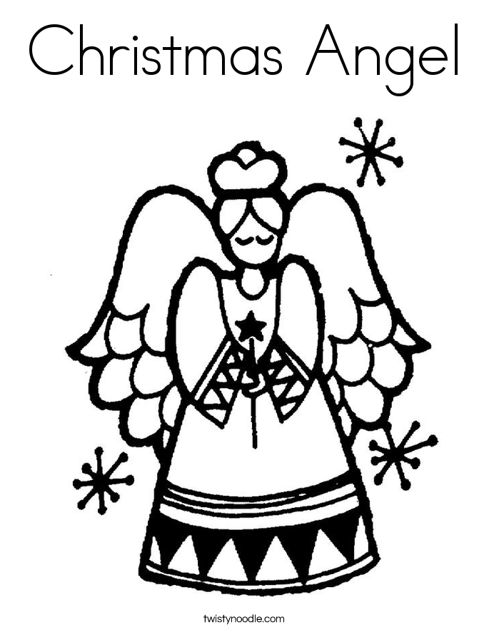 Christmas Angel Coloring Page - Twisty Noodle