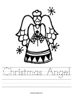 Christmas Angel Handwriting Sheet