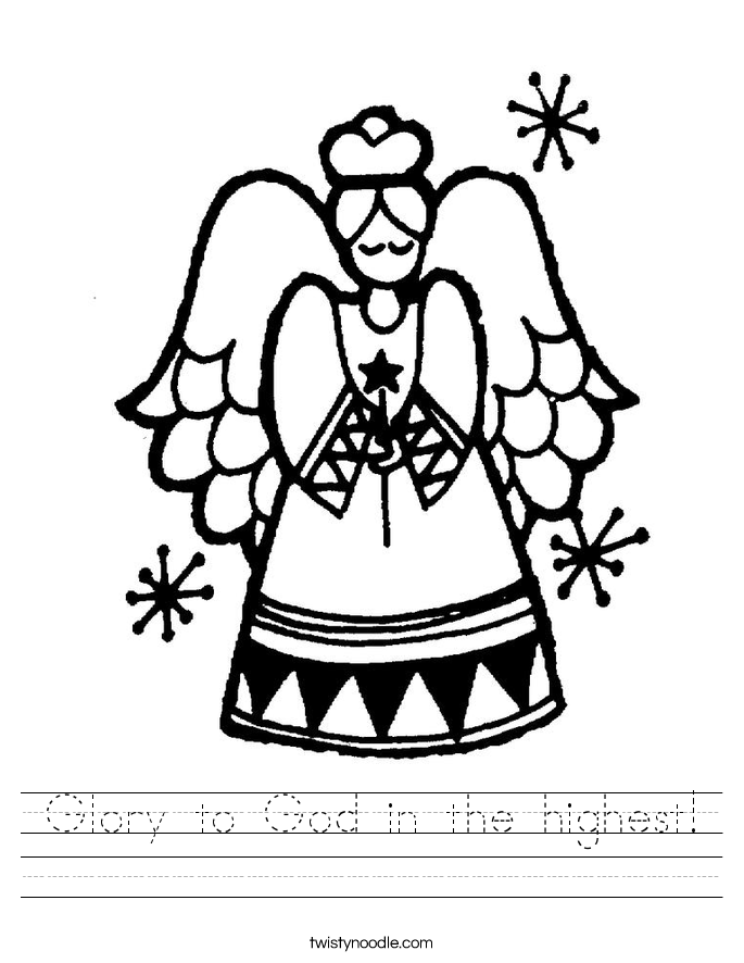 Glory to God in the highest! Worksheet