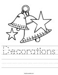 Decorations Worksheet