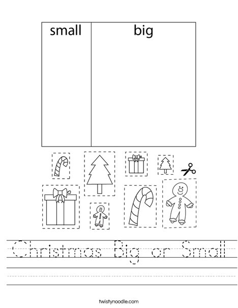Christmas Big or Small Worksheet