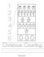 Christmas Counting Handwriting Sheet