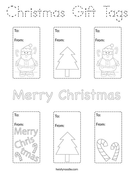 Christmas Gift Tags Coloring Page