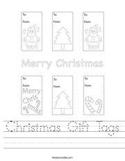 Christmas Gift Tags Handwriting Sheet