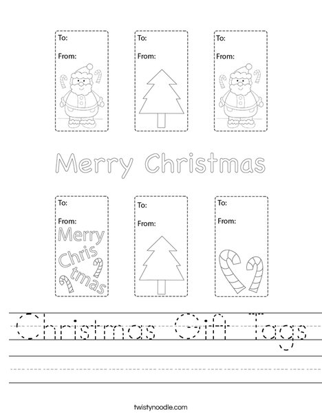 Christmas Gift Tags Worksheet