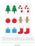 Christmas Memory Game Worksheet