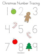 Christmas Number Tracing Coloring Page