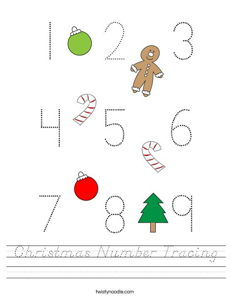Christmas Number Tracing Worksheet