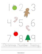 Christmas Number Tracing Handwriting Sheet