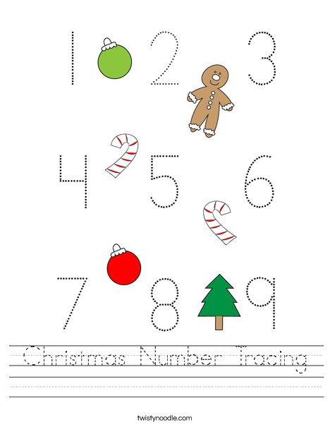 Christmas Number Tracing Worksheet - Twisty Noodle